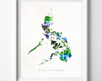Philippines Map Print, Manila Print, Philippines Poster, Watercolor Painting, Map Art, Wall Decor, Travel, Home Decor, Valentines Day Gift