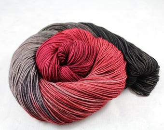 Zugzwang! - PREORDER - 100g  437yd Fingering Luxury Yarn 70/20/10 Sw Merino/Yak/Nylon- Checkers Colors  black, red, gray