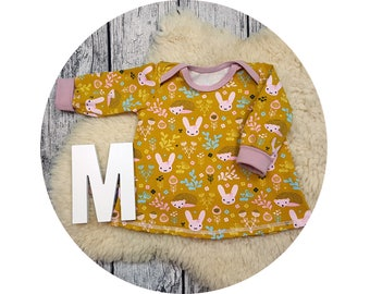 Long sleeve tunic, long sleeve, gift, baby, Mitwachstunkia, tunic, baby tunic, American section, Bunny, flowers, bunny, hedgehog, mustard