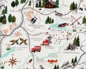 Sugar Mountain Trail Map Christmas Time Alexander Henry Cotton Fabric DE8523A Natural, By the Yard