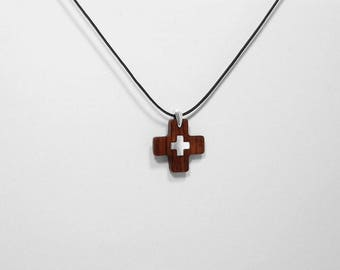 PENDANT CROSS Wooden High quality Handmade Jewelry by Silver 925 and Rosewood