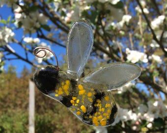 Bumble Bee Glass Decoration, Glass Bee, Suncatcher