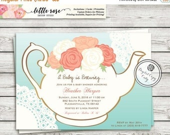 Garden Tea Party Baby Shower Invitation - A Baby is Brewing Invite - Gender Neutral - High Tea Invite - Bridal Shower - Printable - LR1029