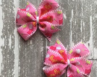Peppa Pig Hair Bow - Peppa Pig Bow - Peppa Pig Party - Peppa Pig Outfit - Peppa Birthday - Peppa Party