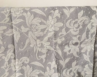 Embroidered floral gray and white elegant remnant fabric