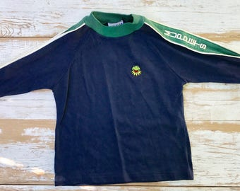 Vintage 80's Muppets long sleeve toddler t-shirt / Kermit the Frog / XS / Billy the Kid tag/ Muppets tshirt / blue and green toddler tee