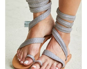 Aspiga Cannes Grey Leather Sandals