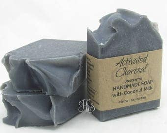 All Natural Activated Charcoal Coconut Milk Handmade Soap with Shea Butter ~ Cold Process Soap, Homemade Soap, Natural Soap