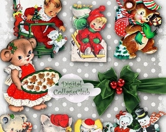 80 % off Summer Sale Retro Vintage Christmas Clipart Clip Art Digital Collage Sheet Digitaal Images for Scrapbooking, Decoupage Paper, Card