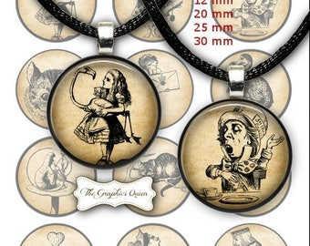 80 % off Graphics SaLe Alice in Wonderland in 12 mm, 20mm, 30 mm, 1 inch (25 mm) Round Images for Bottlecap, Jewelry Making, Scrapbooking, M