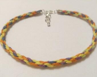 Kumihimo Hemp Anklet Handmade, Rainbow Hemp Ankle Bracelet, Hemp Jewelry, Body Jewelry, Summer Jewelry, Woven Ankle Bracelet, Anklets.