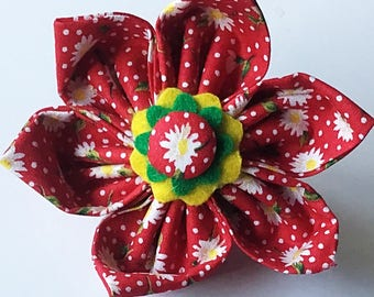 Red & White Floral Flower for Girl Dog or Cat Collar
