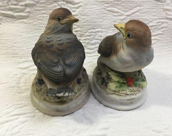 Lefton Snow Bird, Hand Painted Porcelain Bisque Bird Figurines, Matte Finish, Snow Bird Figurine, KW 1637, Song Bird Figurines, Lefton Birds