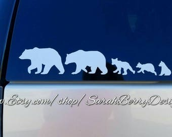Bears on the Caboose - Caboose Critters- Window decals - stick figure family- Wyoming - back window sticker - Yellowstone - Jackson Hole