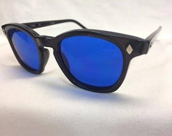 F9800 Hipster 3m Authentic Custom Black / Cobalt Blue UV400 Lenses Sunglasses