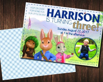 Peter Rabbit Birthday Invitation / Peter Rabbit Birthday Party / Beatrix Potter / Photo Invite / Rabbit Birthday Invite / Printable Invite