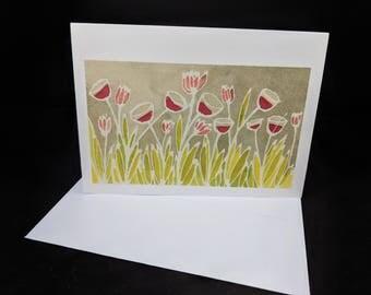 Wine Glass Flowers - 5 Blank Greeting Card Set