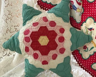 Vintage Quilted Star Shaped Shabby Chic Decorative Pillow