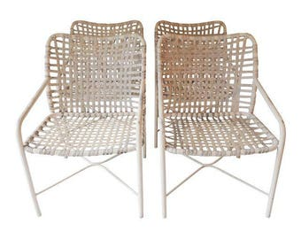 Vintage Brown Jordan Set (4) Code Chairs White/White Powder Coated 31 x 21 x 24D