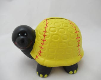 Ceramic Softball Turtle Bank
