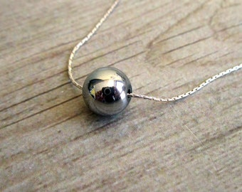 Silver Hematite Bead Necklace ,  925 Sterling Silver Necklace , Hematite Necklace , Bridesmaid Gift , Delicate Necklace , Layering Necklace
