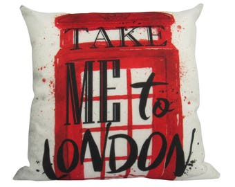 Take me to London Red British Telephone Booth - Pillow Cover