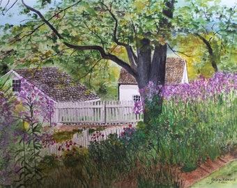 "original watercolor,painting of flowers,painting,of farm buildings,purple flower,""PURPLE"",21""w x 16""h,Artist Peter Kundra,white picket fence"