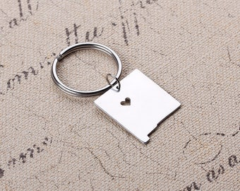 I heart New Mexico Keychain - New Mexico Map Keychain- Map Keychain - State Key ring - Can be made with any state or country