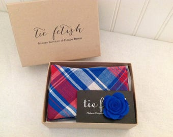 Red white and blue plaid pocket square and lapel pin box set
