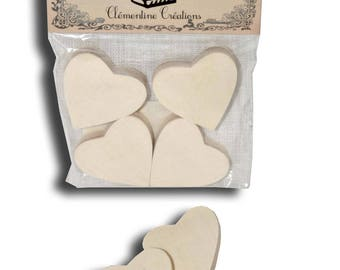 """Bag of 4 hearts """"Decorative table"""" wood"""