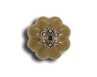 Pretty khaki ceramic door knob