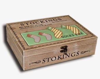 "Socks ""STOCKING SOCKS"" wooden box"