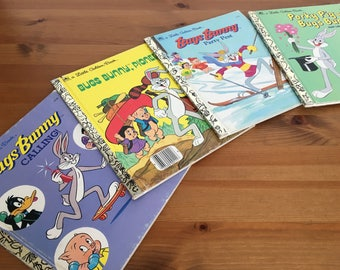 Set of 4 Bugs Bunny Little Golden Books vintage Children's reading