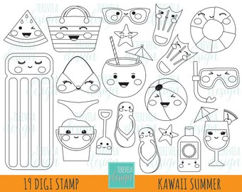 50% SALE SUMMER digital stamp, beach stamp, commercial use, instant download, summer coloring page, kawaii digi stamp, summer graphics, cute