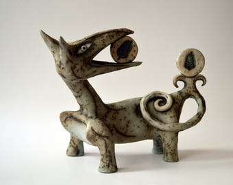 wolf - gray wolf - ceramic art - creatures - ceramic creature - clay - blue and gray
