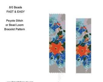 Peyote Stitch or Bead Loom Bead Weaving Bracelet Pattern - 8/0 Seed Bead Pattern - 8beadOrangeFlower