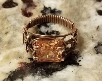 JULY SALE Red Bronze wraps a dark champagne CZ in a Unisex design.  The size 10 ring sports a 10mm square stone.