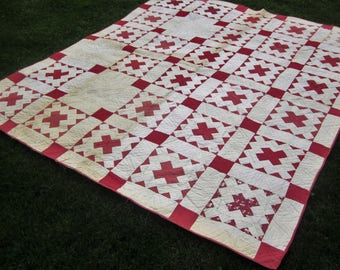 Vintage Hand Sewn Quilt Signed 100's of Signatures in Quill Dip Pen on Cotton Hand Stitched Material Old Redwork - Make An Offer