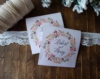 20 Tears of Joy Tissue Packs, Wedding Tissues, for tears of joy, happy Tears Packs, Floral Design,Customized tissue packs