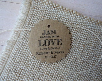 Jam packed with love. Personalized Favor Tags. Jam Wedding Favor Tags. Jam Labels. Kraft Jam Labels. Set of 25 to 300 pieces