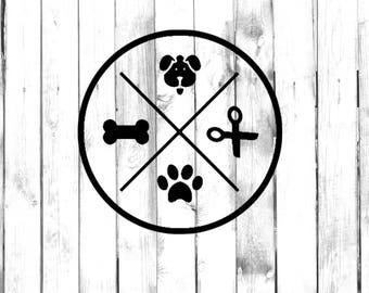 Dog Groomer Circle Decal - Dog, Scissors, Paw, Bone - Di-cut Decal - Car/Truck/Phone/Computer/Home/Laptop Decal