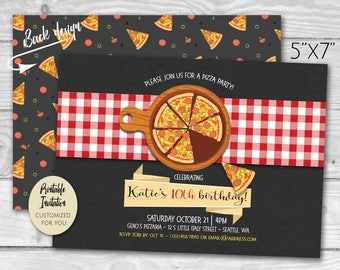 Pizza Party Birthday Invitation | Printable PDF Invite | Child's Party | Pizzeria Pizza Pie and Slice