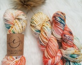 Salmon Run, Bulky Weight Yarn, Hand Dyed Yarn( 50 percent Superwash Merino Wool, 50 percent Nylon)