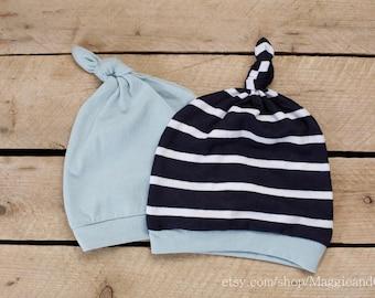 Newborn Hat, Newborn Stripe Hat, Twin Hat Set, Take Home Outfit, Newborn Boy Hat, New Baby Hat, Baby Boy Hat, Stripe Knot Top Hat, Blue Hat