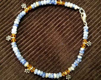 "8"" Denim Lapis Lazuli & Swarovski Crystal Beaded Bracelet with Sterling Silver Clasp and Charms"