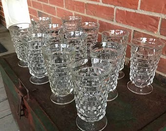 """Vintage Set of 12 Twelve Indiana Glass Whitehall Colony Cubist Clear Footed Tea Drinking Glasses 6"""""""