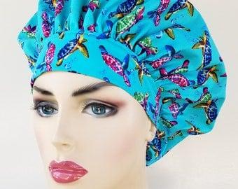 Bouffant surgical scrub hat, scrub cap for women, bouffant scrub hat, surgical cap, sea turtles print scrub hat