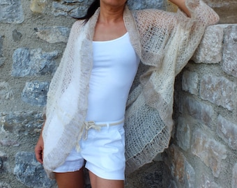 Oversized shrug/ Ivory shrug/Silk shrug/ Plus size shrug/ cocoon shrug/ luxurious silk shrug sweater