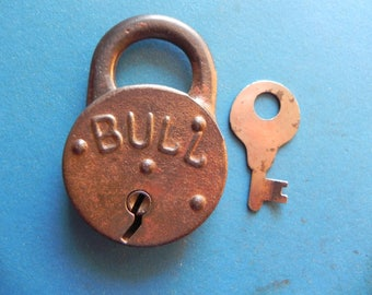 "Antique ""BULL"" Padlock W/ Key."