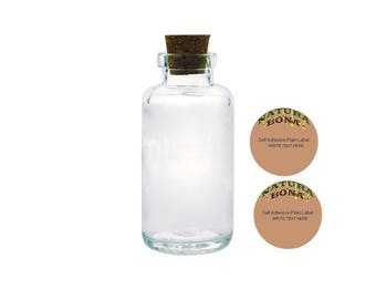 Apothecary Glass Bottles with Tapered Cork by Natura Bona, 6oz/170g Thick Glass Essential Oil Empty Bottle with 2 Blank Adhesive Labels (1)